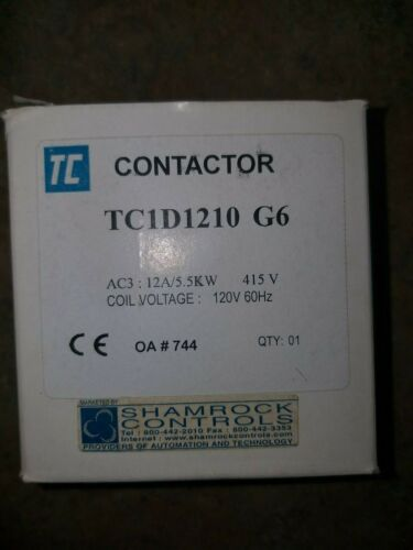 New In Box, Shamrock Controls TC1D1210G6 Contactor