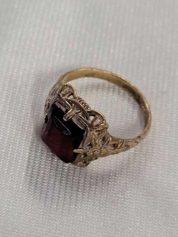 Vintage Antique Decorative Edwardian Paste Ring Size L