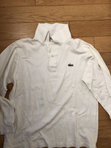 Polo lacoste devanlay blanc coton shirt manches longues taille 3 made in france