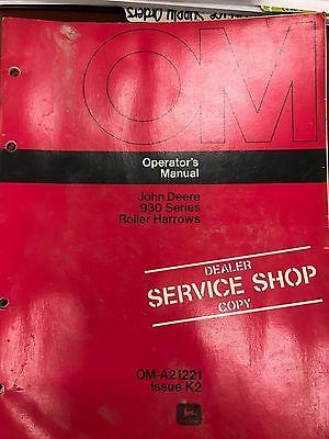 John Deere Operators Manual 930 Series Roller Harrows Oma21221 Used