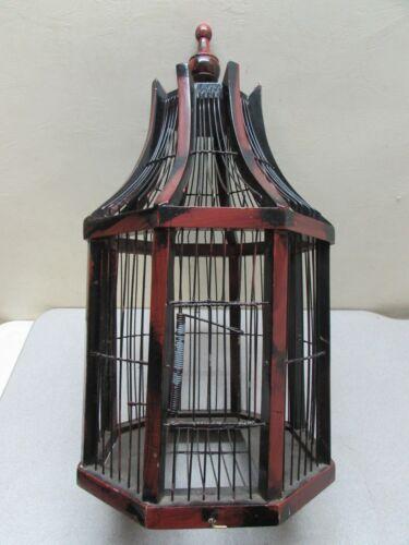 Antique Octagon Wooden Wire Birdcage House Enclosure Mahogany?