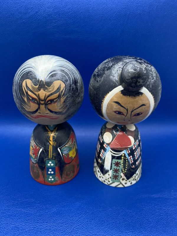 Old Handpainted Angry Face Japanese Kokeshi Wooden Dolls set of 2