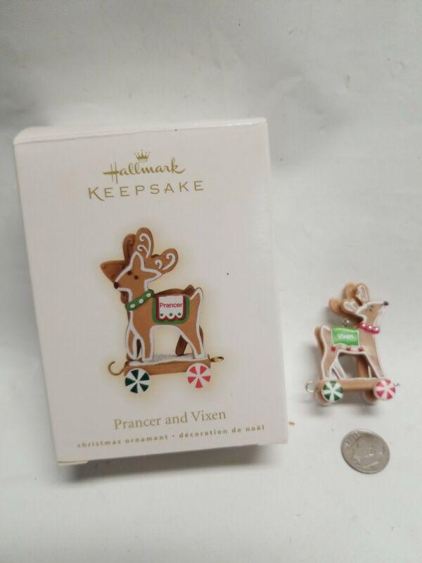 Hallmark Prancer And Vixen Gingerbread Reindeer Miniature 2009 Santa