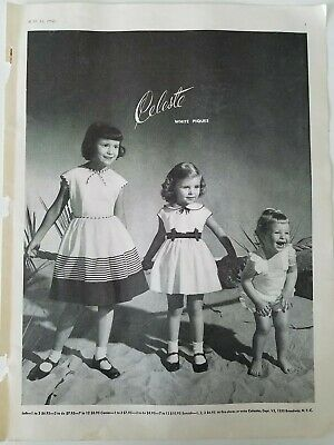 1950 Kleine Mädchen Celeste Kleider Spiel Kleidung Vintage Mode Anzeige