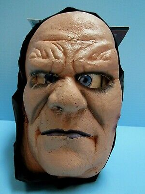 HALLOWEEN ADULT HOODED FLEXI-FACE UGLY GHOULISH MAN - NOSTRIL HOLES -OPEN MOUTH - Face Hole Halloween