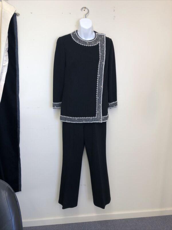 vintage NICOLE Black wool Pantsuit, beaded accent sleeves  Neckline 1960s