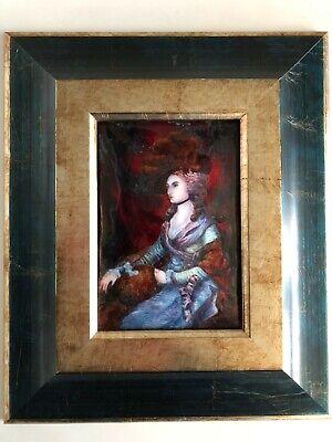 cuadro con marco oscuro y dorado con esmalte de limoges de retrato...