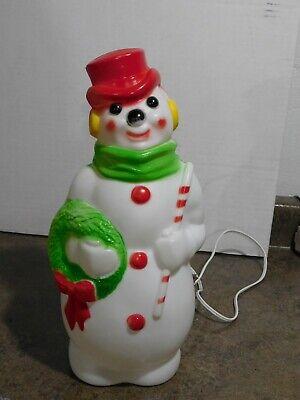 "VTG 1968 Empire 13"" Christmas Tabletop Wreath & Candy Cane Snowman Blow Mold"