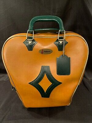 Vintage MCM ATLANTIC Cognac & Dark Green Diamond Design Bowling Ball Bag W/Tag!