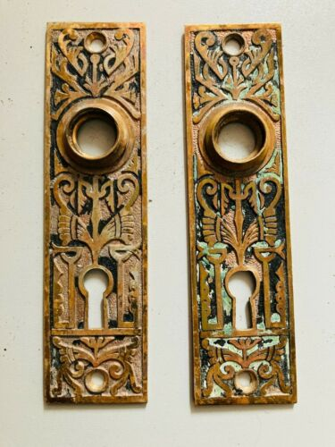 Set of 2 ANTIQUE DOOR PLATES Art Deco Egyptian Revival Style FANTASTIC MUST SEE