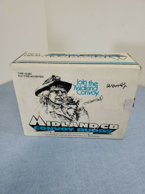 Midland Model 13-861 CB Radio W/ Leather Battery Pack & Mic.  In Original Box