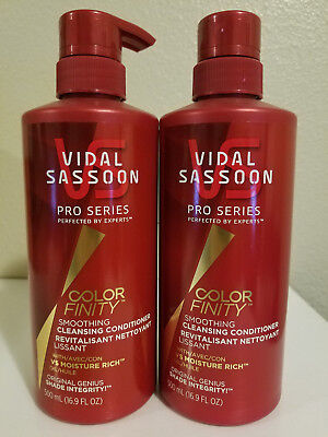 Lot of 2 Vidal Sassoon Pro Series Smoothing Cleasnsing Conditioner 16.9 oz