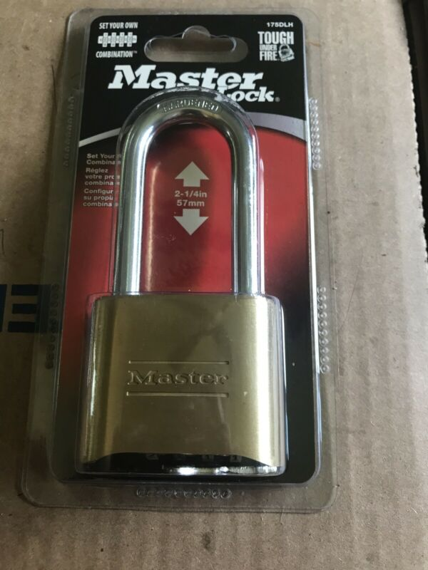 "NEW MASTER LOCK 175DLH BRASS HARDENED STEEL COMBINATION PADLOCK 2-1/4"" Sealed"