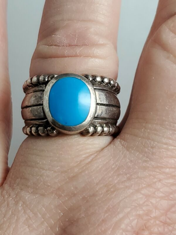 Sterling Silver Turquoise Ring Size 7 Signed 925 NF