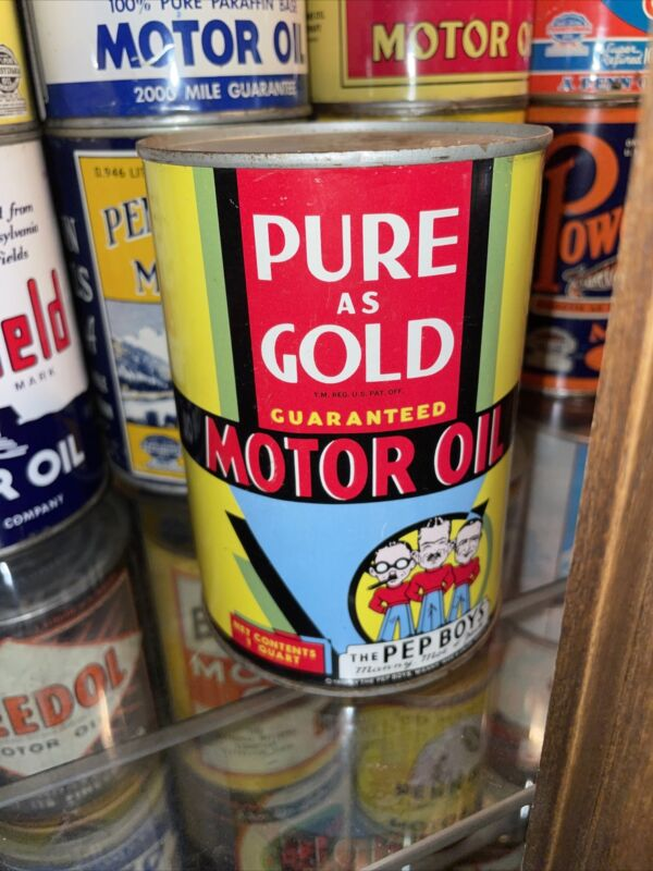 FULL Pure as Gold Pep Boys Motor Oil Can US Quart  1933 Philadelphia PA NOS