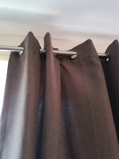 2 sets long brown curtains including rods