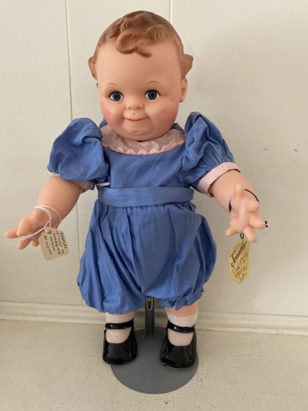"""15"""" VINYL CAMEO SCOOTLES DOLL IN BlUE JUMPSUIT WITH TAG 1973"""