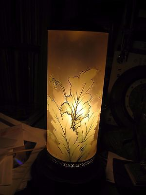 "Vintage Painted Frosted Glass Cylinder Table Lamp 18"" x 5 1/2"""