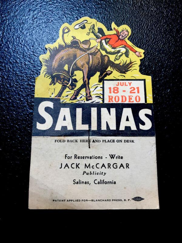 1930's-40's Salinas California Rodeo Advertising - Bronco - Horse - Cowboy