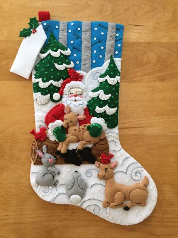 "Santa's Forest Family - Bucilla Felt Christmas Stocking Finished - Hand Sewn 18"""