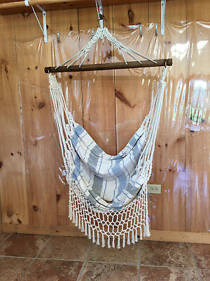 Cotton-Polyester  Hammock Chair with Macrame Fringe