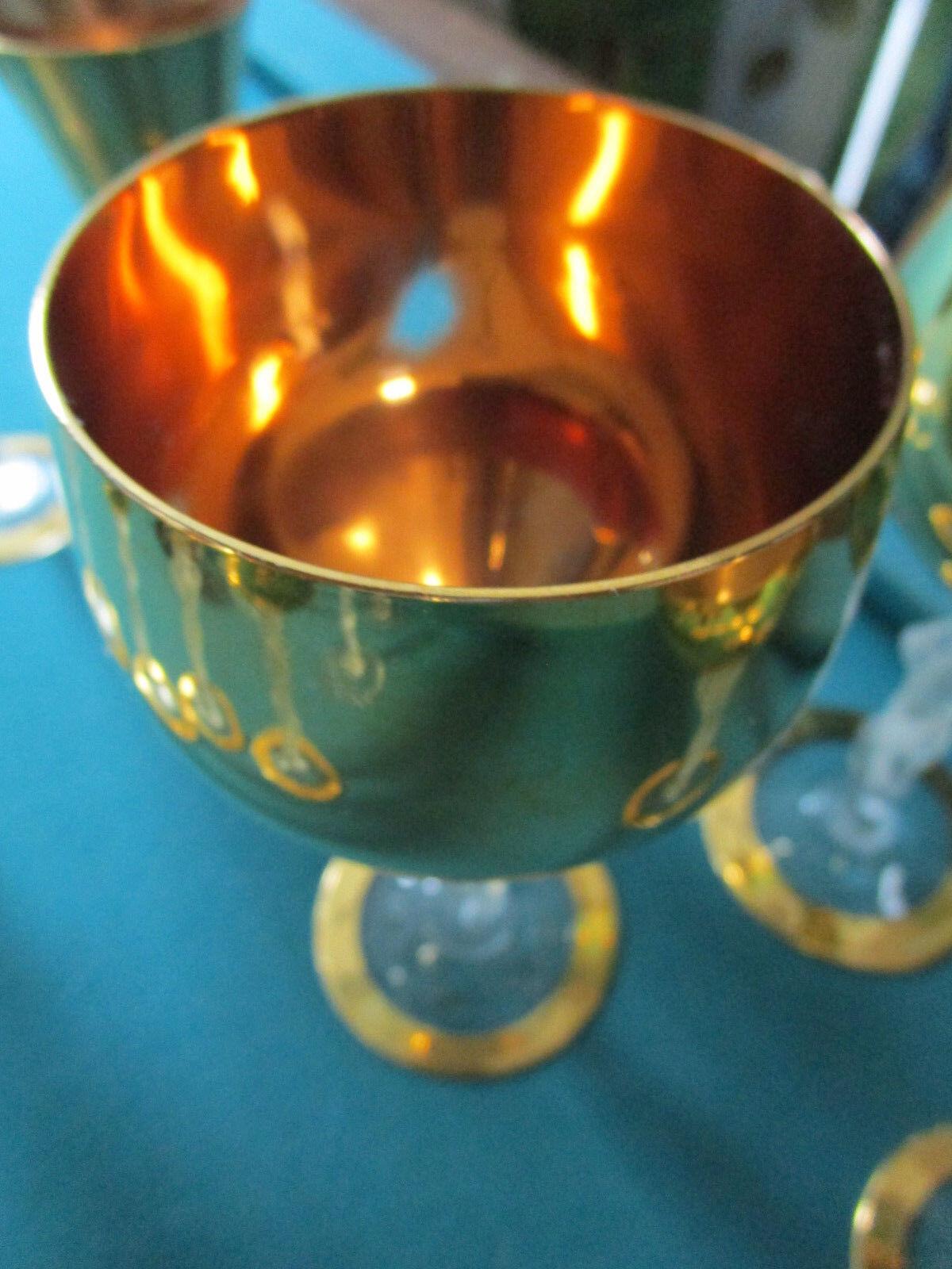 6 Vintage Bayel Crystal Frosted Nude Lady Stem Gold