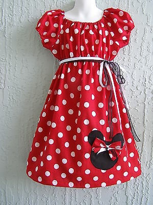 Minnie Mouse Applique Girl Dress Insprd. 70's Cotton Size 4-12 yrs EASTER Gift ](Girls Easter Gifts)