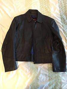 REDUCED! unisex Black leather genuine biker jacket Spring Hill Brisbane North East Preview