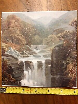 Antique Safe Mural, Early Waterfall Painting Reproduction, Graphic