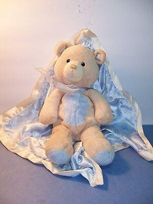 BABY GUND BEAR TALES #58610 BLUE SWADDLED BEAR CUB/BLANKET 12