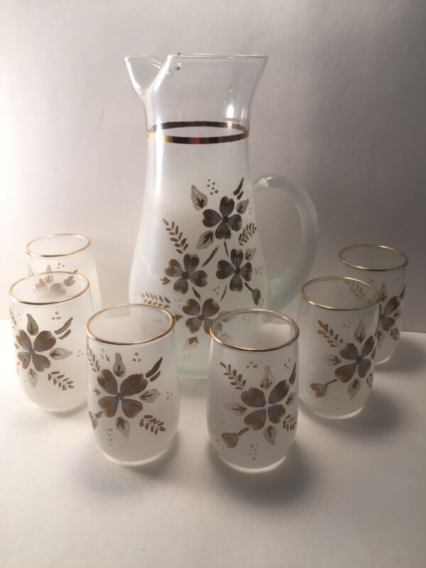 Blendo 7 Piece Frosted White Hand Painted Dogwood Juice Pitcher &  Glass Set