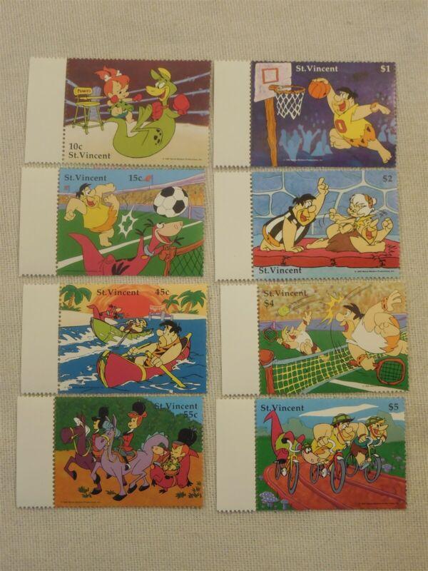 Flintstones 1990 Set of 8 St Vincent Sports Stamps Flintstone & Rubble