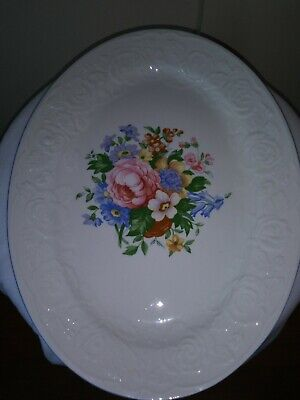 Victorian Rose Serving Platter And Eight Dinner Plates ()