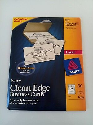 Avery Clean Edge Business Cards Laser 2 X 3 12 Ivory 200pack 5876