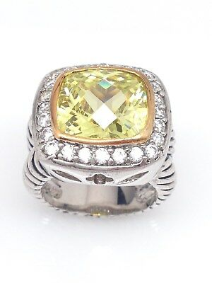 Citrine November Birthstone Ring - Womens Brass Yellow Gem Square Ring Double Band Size 5.75 -November Birthstone