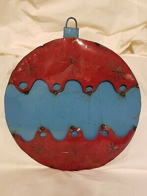 Upcycled Metal Christmas Ornament Red/Blue Yard/Garden Decor Large Giant ()