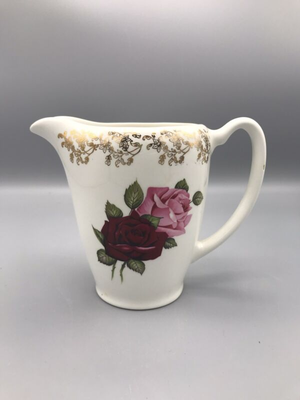Vintage Lord Nelson Pottery of England Pitcher Pink Roses 2-70 w/ Gold Accents