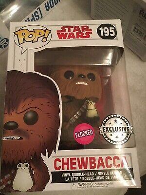 Pop Vinyl Star Wars Chewbacca With Porg 195 Flocked Exclusive
