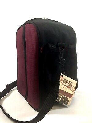 Alfresco Insulated Burgundy 4 Bottle Wine Tote Cooler with stoppers -
