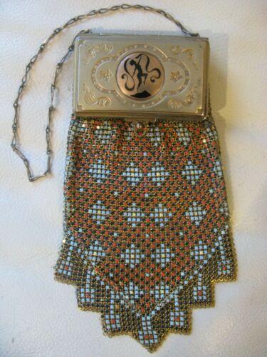 Antique Art Deco Gold Card Case Dancing Woman Chain Mail Mesh Purse Compact W&D