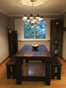 Red Poplar Farm House Table and Two Benches