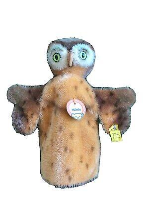 STEIFF Wittie Owl Hand Puppet ~ Vintage German Mohair Animal Bird Toy