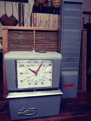 Vintage Lathem Model 4026 Time Recorder Punch Clock W Keys Card Holder