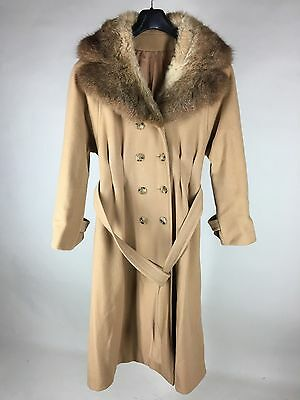 Womens Domino (Domino New York Coat Double Breasted Wool Blend Fur Trim Belted Tan Womens Small)