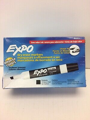 Expo Chisel Dry Erase Markers For Whiteboards 80001 Black 12 Count As Is