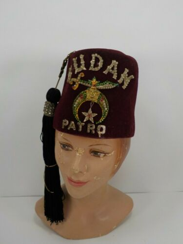 Vintage Fancy Fez Hat Tassel Jeweled Shriner Masonic New Bern NC  Size 7 1/8