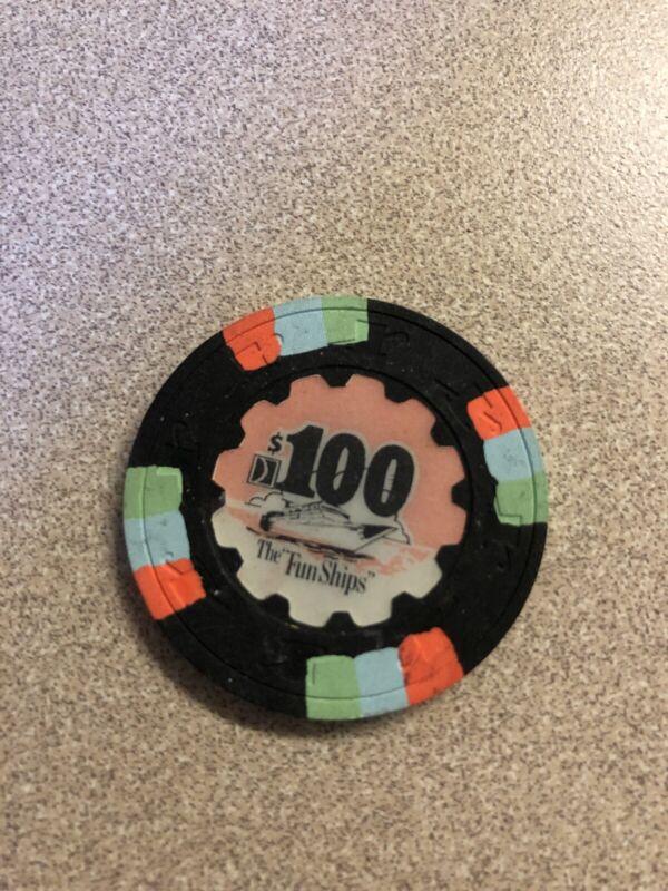 $100 the fun ships carnival wet cruise  casino chip super rare