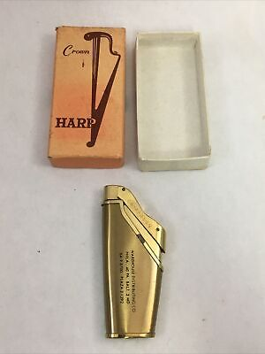 Vintage Crown Harp Gold Tone Lighter with Box Advertising Giveaway Philadelphia