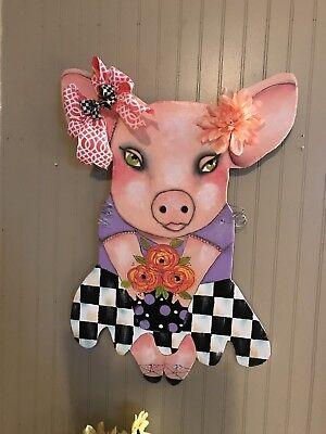 My Hand Painted Pig Door Hanger With Mackenzie Child's Ribbon