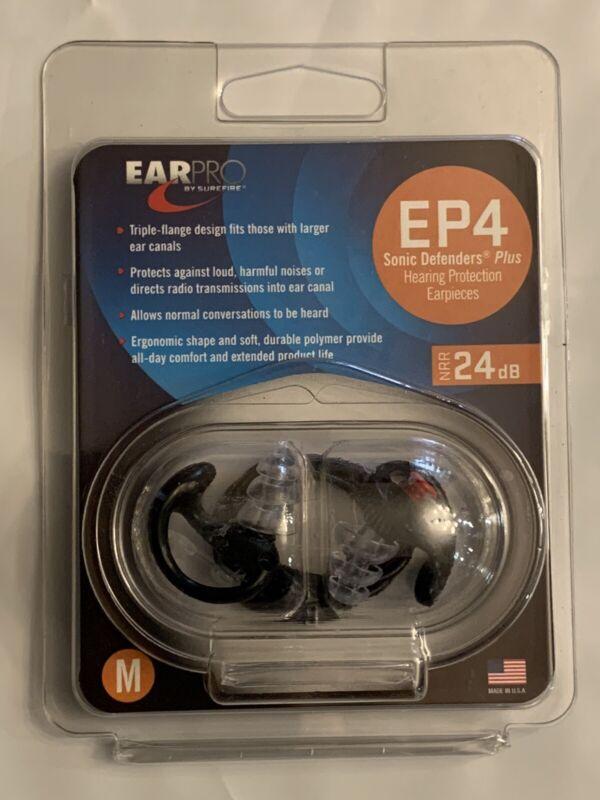 NEW Ear Pro By Surefire 4 Sonic Defender Plugs 1 Pair Black Medium Size (EP4)